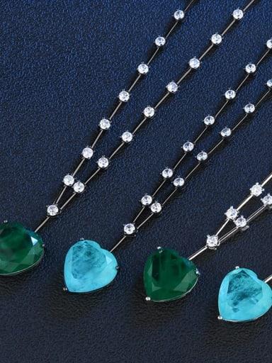 Sky blue (Platinum) Copper Glass Stone Heart Vintage Necklace