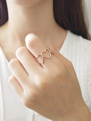 925 Sterling Silver heart love free size Ring