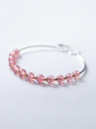 925 sterling silver Simple strawberry crystal  bracelet
