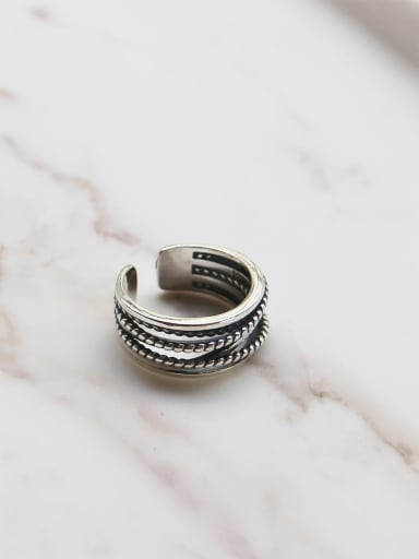 925 Sterling Silver Geometric Artisan Stackable Ring