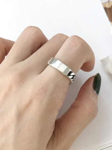 925 Sterling Silver Vintage   Chain Smooth Free Size Midi Ring