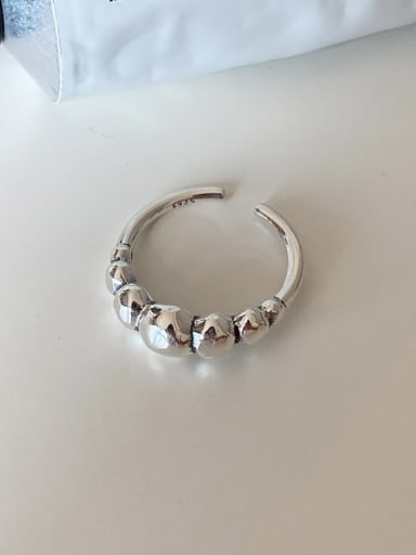 925 Sterling Silver Bead Round Minimalist Band Ring