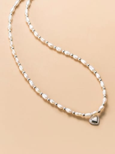 925 Sterling Silver Imitation Pearl Heart Minimalist Choker Necklace