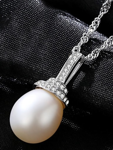 White 5A01 925 Sterling Silver Freshwater Pearl Pink pendant Necklace