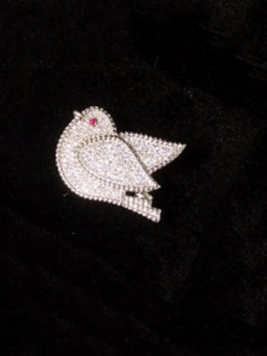 silvery Copper Cubic Zirconia White Bird Cute Brooches