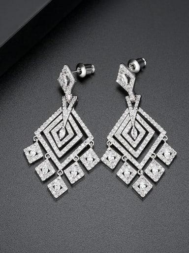 Copper Cubic Zirconia Square Luxury Drop Earring