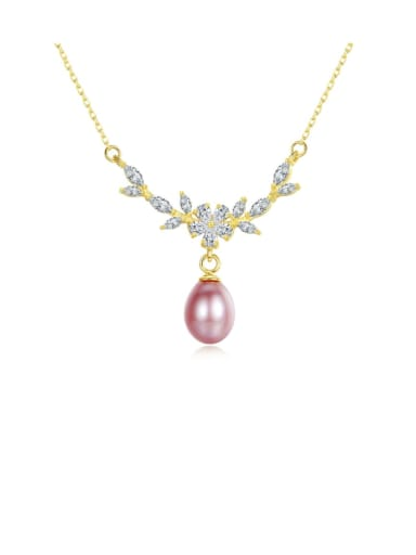 925 Sterling Silver  Micro zircon inlaid freshwater pearl necklace