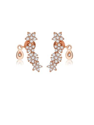 Copper Rhinestone Flower Dainty Drop Earring