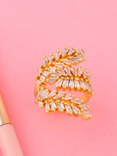 Brass Cubic Zirconia Leaf Dainty Band Ring