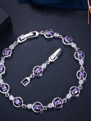 violet Copper Cubic Zirconia Geometric Dainty Bracelet