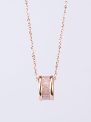 Rose Gold White Titanium Cubic Zirconia Multi Color Round Minimalist Choker Necklace