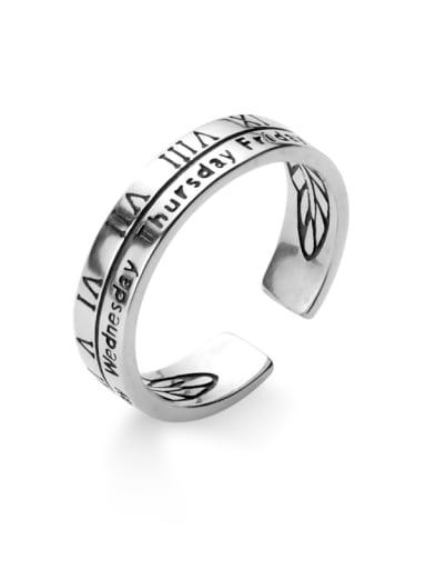 925 Sterling Silver Vintage Letter  Free Size Ring