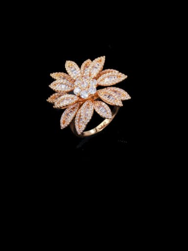 US 8# Copper With Cubic Zirconia Fashion Flower Statement Free Size Rings