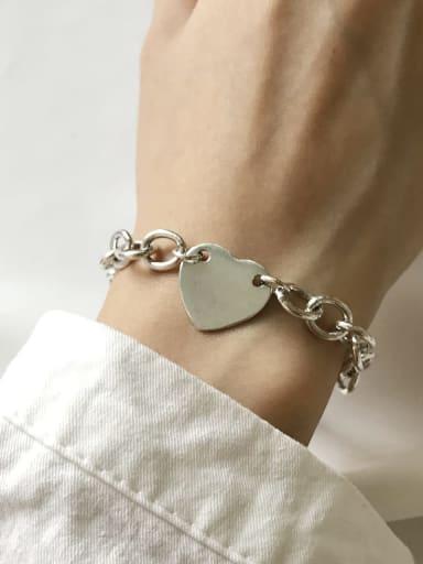 925 Sterling Silver Minimalist  Heart  Chain Link Bracelet