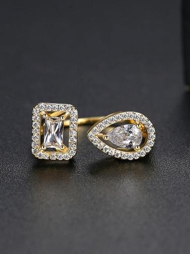 Copper Cubic Zirconia  Minimalist  Geometric Band Ring
