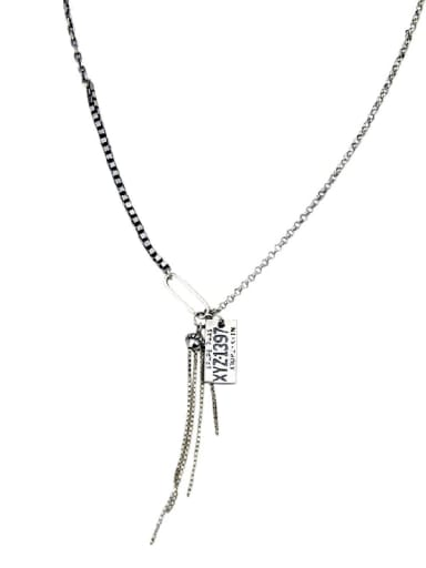 Vintage Sterling Silver With Platinum Plated Fashion Tassel pendant  Necklaces