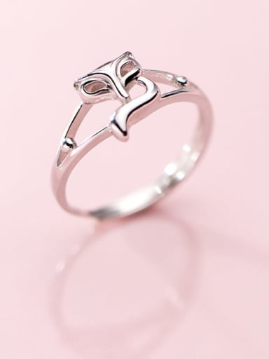 925 Sterling Silver Hollow Fox Cute Free Size Ring