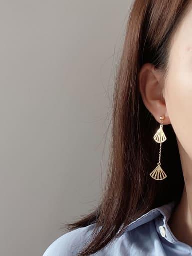 925 Sterling Silver Irregular Minimalist Fan  Threader Earring
