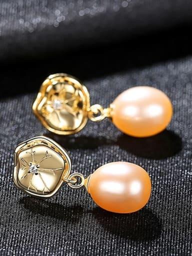 Powder 4H10 925 Sterling Silver Freshwater Pearl Flower Dainty Drop Earring