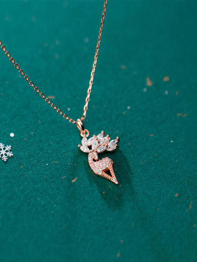 925 Sterling Silver With Cubic Zirconia Minimalist Deer Christmas Necklaces