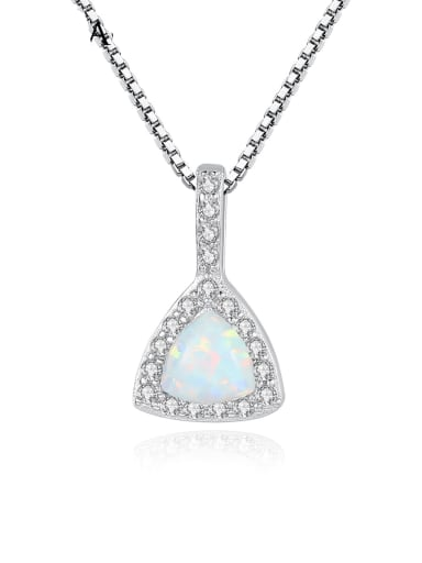 925 sterling silver simple triangle Opal Pendant Necklace