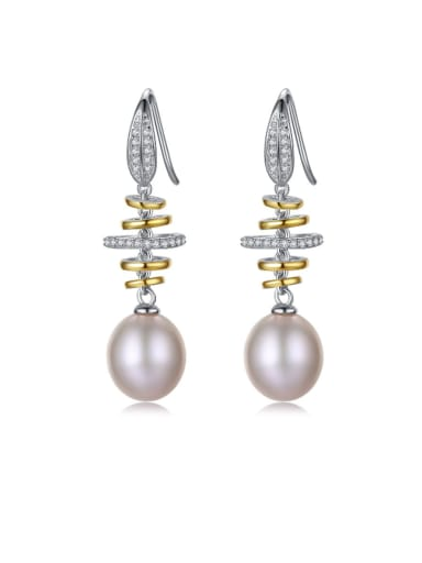 925 Sterling Silver Freshwater Pearl White Round Trend Hook Earring