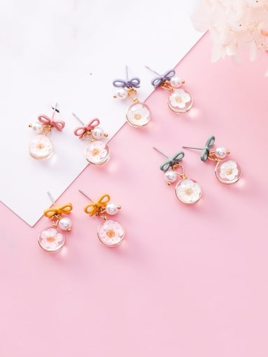 Zinc Alloy Imitation Pearl Multi Color Enamel Bowknot Cute Drop Earring