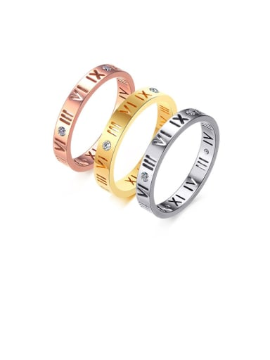 Stainless Steel With Gold Plated Simplistic Hollow Roman Numerals Band Rings