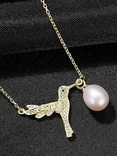 Purple 7b03 925 Sterling Silver Fashion Micro Inlay Zircon Bird Pearl Pendant Necklace