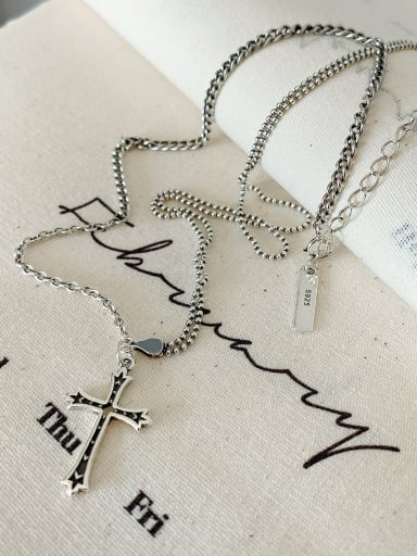 925 Sterling Silver Cross Vintage Long Strand Necklace
