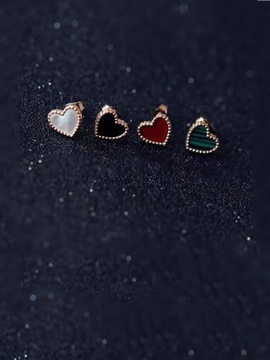 Titanium Multi Color Enamel Heart Minimalist Stud Earring