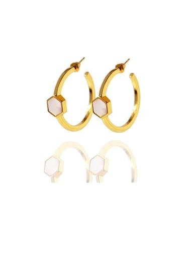 Golden white Copper Malchite White Hexagon Minimalist Drop Earring