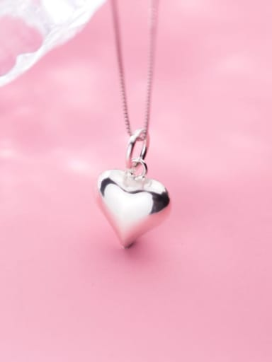925 Sterling Silver Smooth Heart Necklace