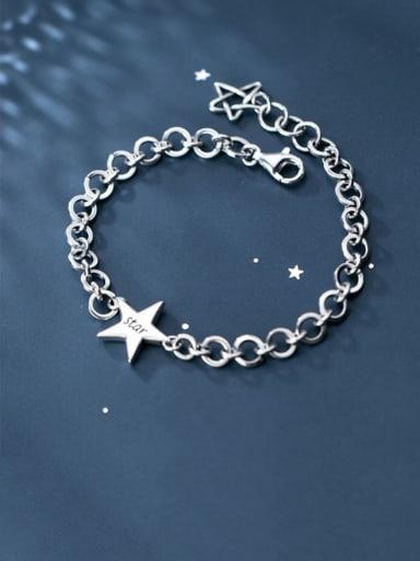 925 Sterling Silver  Minimalist  Pentagram hollow chain Link Bracelet