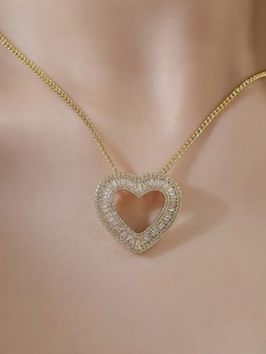Gold Pendant Copper Vintage Heart  Earring and Necklace Set