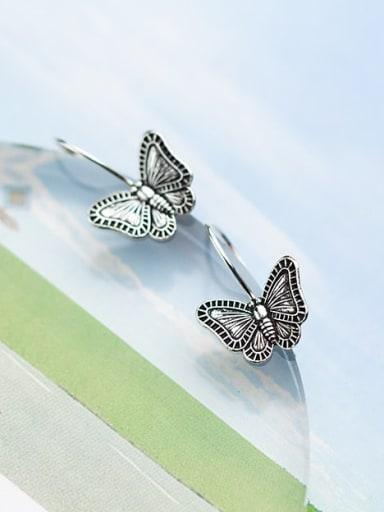 925 Sterling Silver Butterfly Vintage Hook Earring