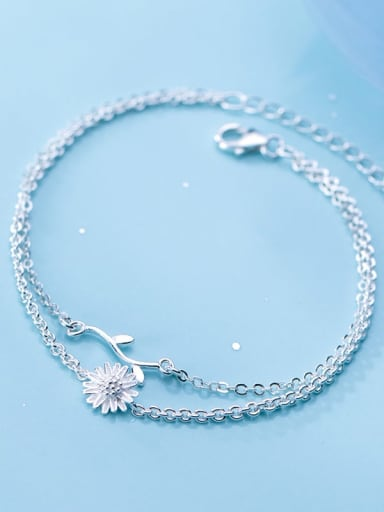 925 sterling silver fminimalist Fashion Daisy Leaf Flower Double Bracelet