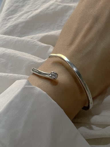 925 Sterling Silver Irregular Artisan Cuff Bangle