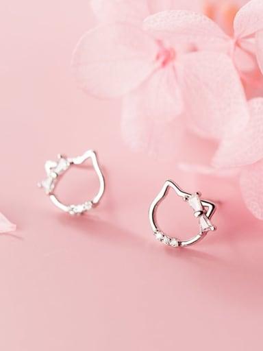 925 Sterling Silver Cubic Zirconia Cat Minimalist Stud Earring