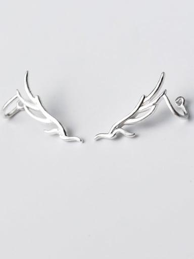 925 Sterling Silver Leaf Minimalist  Leaf Short Ear Clip