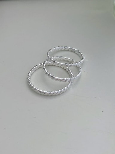 925 Sterling Silver Minimalist Braided Wire  Free Size Ring
