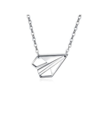 Titanium Love Paper Airplane Couple Necklace