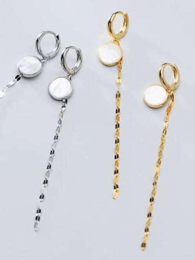 925 Sterling Silver Shell Tassel Minimalist Threader Earring