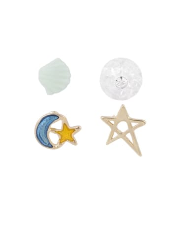 Brass Multi Color Enamel Star Minimalist Stud Earring