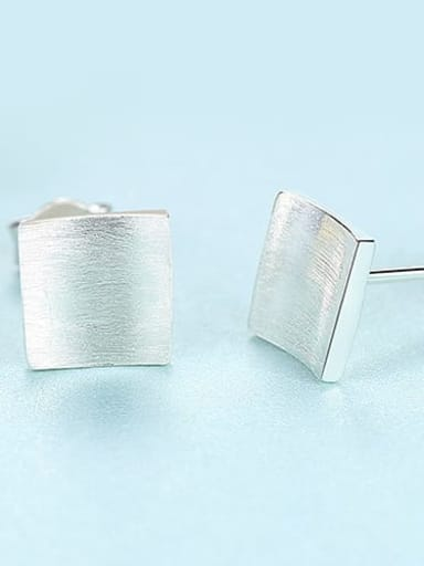 Platinum 17A01 925 Sterling Silver Smooth Square Minimalist Stud Earring