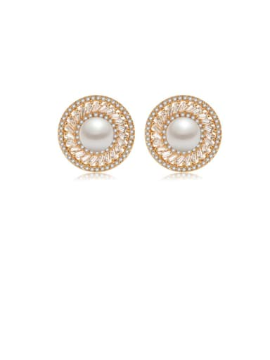 Copper Cubic Zirconia  Hollow Round Trend Stud Earring