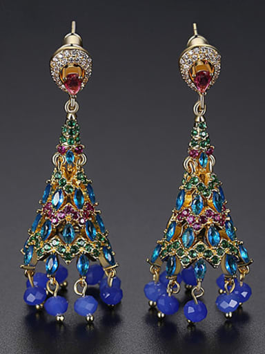 Copper Cubic Zirconia Multi Color Bell Ethnic Earring