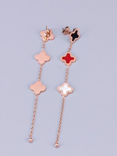 Titanium Multi Color Number/Clover Threader Earring