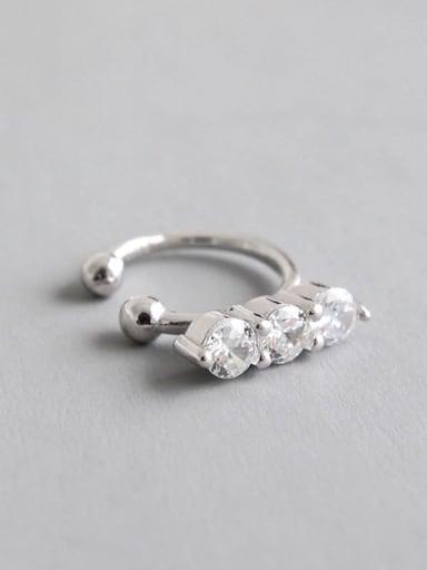 925 Sterling Silver Cubic Zirconia White Irregular Minimalist Clip Earring