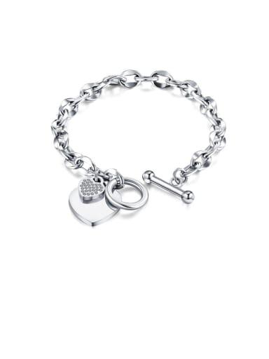1012 [steel color Payment] Titanium Rhinestone White Heart Minimalist Link Bracelet